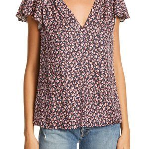 NWT Rebecca Taylor 55% Silk Floral Print Blouse